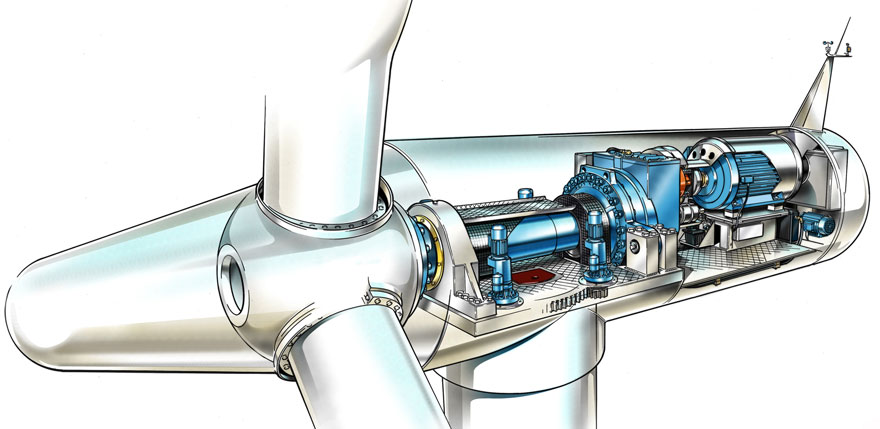 Diagram of Wind Turbine Assembly