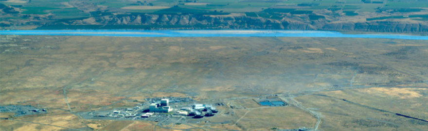Aerial photo of Columbia Generating station and the Columbia river